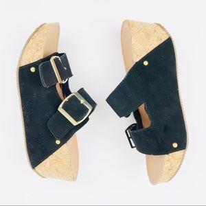 Body Central Buckle Slide Slip On Sandal Cork Heel